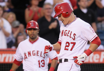 Mike Trout hit a solo homer in the fourth off of Phil Hughes.