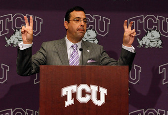 DALLAS - NOVEMBER 29:  Texas Christian University Athletics Director Chris Del Conte talks with the media after TCU accepted an invitation for full membership into The Big East Conference on November 29, 2010 in Fort Worth, Texas.  TCU will leave the Moun