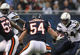 CHICAGO, IL - NOVEMBER 20:  Ryan Matthews #24 of the San Diego Chargers runs against Brian Urlacher #54 of the Chicago Bears at Soldier Field on November 20, 2011 in Chicago, Illinois. The Bears defeated the Chargers 31-20.  (Photo by Jonathan Daniel/Gett