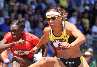 EUGENE, OR - JUNE 25:  Lolo Jones clears a hurdle during the first round of the Women's 100 meter hurdles during the 2011 USA Outdoor Track & Field Championships at Hayward Field on June 25, 2011 in Eugene, Oregon.  (Photo by Andy Lyons/Getty Images)