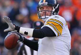 DENVER, CO - JANUARY 08:  Quarterback Ben Roethlisberger #7 of the Pittsburgh Steelers drops back to pass against the Denver Broncos during the Wild Card Playoffs at Sports Authority Field at Mile High on January 8, 2012 in Denver, Colorado.  (Photo by Je