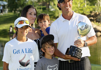 "Scott Piercy with family after winning 2011 Reno-Tahoe Open (son's shirt says ""Get a Life""). I think Dad just got a life on the PGA TOUR with his first win, don't you?"