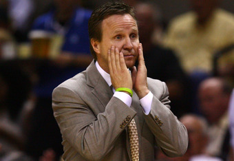 SAN ANTONIO, TX - MAY 29:  Head coach Scott Brooks of the Oklahoma City Thunder reacts in the second half while taking on the San Antonio Spurs in Game Two of the Western Conference Finals of the 2012 NBA Playoffs at AT&T Center on May 29, 2012 in San Ant