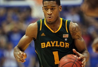 LAWRENCE, KS - JANUARY 16:  Perry Jones III #1 of the Baylor Bears controls the ball during the game against the Kansas Jayhawks on January 16, 2012 at Allen Fieldhouse in Lawrence, Kansas.  (Photo by Jamie Squire/Getty Images)
