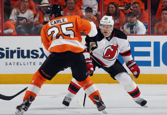 PHILADELPHIA, PA - MAY 08: Anton Volchenkov #28 of the New Jersey Devils defends against the Philadelphia Flyers in Game Five of the Eastern Conference Semifinals during the 2012 NHL Stanley Cup Playoffs at Wells Fargo Center on May 8, 2012 in Philadelphi