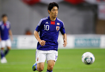 KOBE, JAPAN - OCTOBER 07: Shinji Kagawa of Japan in action during the international friendly between Japan and Vietnam at Home's Stadium Kobe on October 7, 2011 in Kobe, Japan. (Photo by Koji Watanabe/Getty Images)