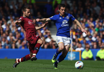 LIVERPOOL, ENGLAND - MAY 13: Leighton Baines of Everton in action with Yohan Cabaye of Newcastle United during the Barclays Premier League match between Everton and Newcastle United at Goodison Park on May 13, 2012 in Liverpool, England.  (Photo by Clive