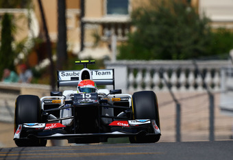 MONTE CARLO, MONACO - MAY 26:  Sergio Perez of Mexico and Sauber F1 drives during the final practice session prior to qualifying for the Monaco Formula One Grand Prix at the Circuit de Monaco on May 26, 2012 in Monte Carlo, Monaco.  (Photo by Clive Mason/