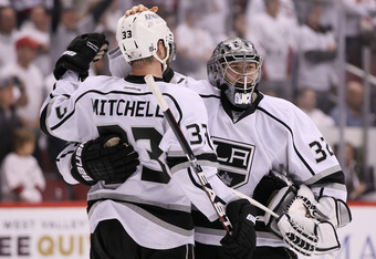 Jonathan Quick and Willie Mitchell will play a large part in shutting down the Devils' top three scorers.