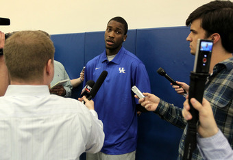 LEXINGTON, KY - APRIL 17:  Michael Kidd-Gilchrist of the Kentucky Wildcats talks with the media during the news conference in which he announced he will enter the NBA draft at Joe Craft Center on April 17, 2012 in Lexington, Kentucky.  (Photo by Andy Lyon