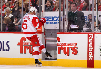 GLENDALE, AZ - FEBRUARY 06:  Nicklas Lidstrom #5 of the Detroit Red Wings skates into the penalty box during the NHL game against the Phoenix Coyotes at Jobing.com Arena on February 6, 2012 in Glendale, Arizona. The Coyotes defeated the Red Wings 3-1.  (P