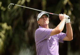 MIAMI, FL - MARCH 09:  Steve Stricker hits a shot during the second round of the World Golf Championships-Cadillac Championship on the TPC Blue Monster at Doral Golf Resort And Spa on March 9, 2012 in Miami, Florida.