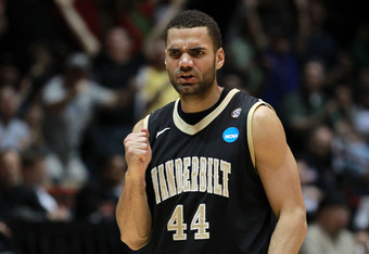 ALBUQUERQUE, NM - MARCH 17:  Jeffery Taylor #44 of the Vanderbilt Commodores reacts during the first half of the game against the Wisconsin Badgers during the third round of the 2012 NCAA Men's Basketball Tournament at The Pit on March 17, 2012 in Albuque