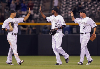 Each of the Rockies' starting outfielders hit a home run in Wednesday's 13-5 win over the Astros.