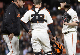 Bochy's first trip to the mound Wednesday night.