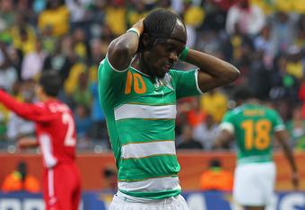 NELSPRUIT, SOUTH AFRICA - JUNE 25:  Gervinho of the Ivory Coast reacts during the 2010 FIFA World Cup South Africa Group G match between North Korea and Ivory Coast at the Mbombela Stadium on June 25, 2010 in Nelspruit, South Africa.  (Photo by Clive Rose
