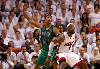MIAMI, FL - MAY 30:  Paul Pierce #34 of the Boston Celtics calls for the ball in the second half as he is defended by LeBron James #6 of the Miami Heat in Game Two of the Eastern Conference Finals in the 2012 NBA Playoffs on May 30, 2012 at American Airli
