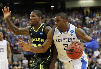 ATLANTA, GA - MARCH 25:  Terrence Jones #3 of the Kentucky Wildcats drives against A.J. Walton #22 of the Baylor Bears in the second half during the 2012 NCAA Men's Basketball South Regional Final at the Georgia Dome on March 25, 2012 in Atlanta, Georgia.