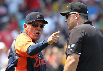 BOSTON, MA - MAY 28:  Jim Leyland #10 of the Detroit Tigers reacts after being thrown out of the game by umpire Chris Guccione in the second inning at Fenway Park May 28, 2012  in Boston, Massachusetts. (Photo by Jim Rogash/Getty Images)