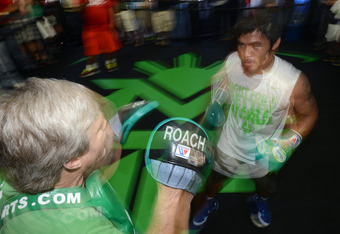 Manny Pacquiao with trainer Freddie Roach.