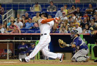 The home run Giancarlo Stanton hit off Moyer in Miami broke a scoreboard. But hey, it only counts as one.
