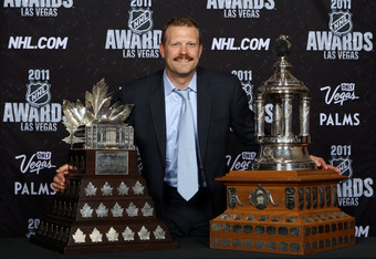 Thomas won the Conn Smythe and Vezina Trophies in 2011