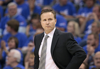 OKLAHOMA CITY, OK - APRIL 28:  Head Coach Scott Brooks of the Oklahoma City Thunder during the game against the Dallas Mavericks in Game One of the Western Conference Quarterfinals in the 2012 NBA Playoffs on April 28, 2012 at the Chesapeake Energy Arena