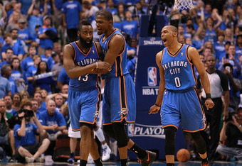 James Harden, Kevin Durant and Russell Westbrook are the core that has the Thunder on a roll.