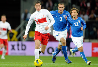 Poland's Robert Lewandowski vs. Italy