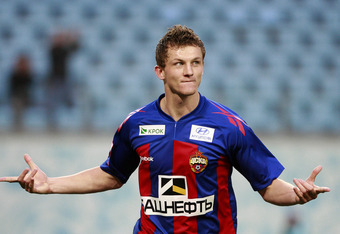 Tomas Necid after scoring one of his many goals for CSKA Moscow