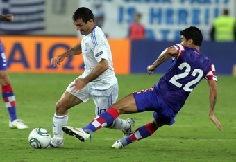 Greece's Giorgos Karagounis in action vs. Croatia