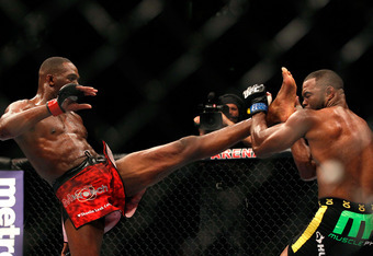 ATLANTA, GA - APRIL 21:  Jon Jones (L) kicks Rashad Evans during their light heavyweight title bout for UFC 145 at Philips Arena on April 21, 2012 in Atlanta, Georgia.  (Photo by Kevin C. Cox/Getty Images)