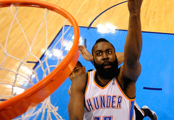 OKLAHOMA CITY, OK - MAY 31:  James Harden #13 of the Oklahoma City Thunder lays the ball up against the San Antonio Spurs in Game Five of the Western Conference Finals of the 2012 NBA Playoffs at Chesapeake Energy Arena on May 31, 2012 in Oklahoma City, O