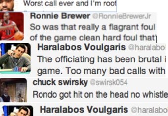 Public figures state their opinions about the officiating in the NBA playoffs via Twitter.