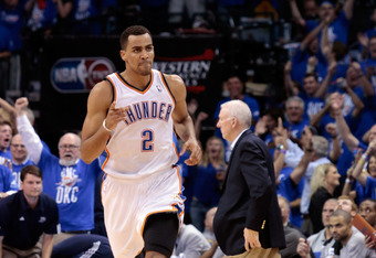 OKLAHOMA CITY, OK - MAY 31:  Thabo Sefolosha #2 of the Oklahoma City Thunder reacts in the second half while taking on the San Antonio Spurs in Game Five of the Western Conference Finals of the 2012 NBA Playoffs at Chesapeake Energy Arena on May 31, 2012