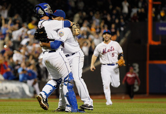 NEW YORK, NY - JUNE 01: Johan Santana #57 of the New York Mets celebrates with Josh Thole #30 and David Wright #5 after pitching a no hitter against the St. Louis Cardinals at CitiField on June 1, 2012 in the Flushing neighborhood of the Queens borough of