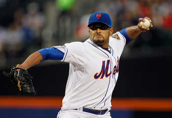 NEW YORK, NY - JUNE 01: Johan Santana #57 of the New York Mets delivers a pitch in the first inning against the St. Louis Cardinals at CitiField on June 1, 2012 in the Flushing neighborhood of the Queens borough of New York City.  (Photo by Mike Stobe/Get