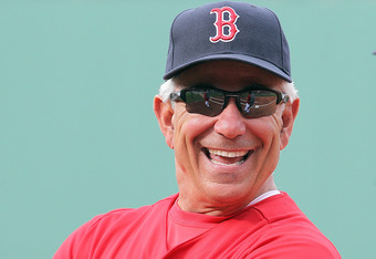 BOSTON, MA - MAY 30:  Bobby Valentine #25 of the Boston Red Sox watches pregame practice before a game with the Detroit Tigers at Fenway Park May 30, 2012 in Boston, Massachusetts. (Photo by Jim Rogash/Getty Images)