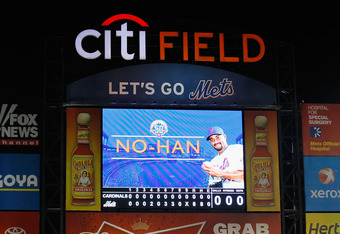 NEW YORK, NY - JUNE 01:  A general view of the scoreboard is seen after starting pitcher Johan Santana #57 of the New York Mets threw a no-hitter against the St. Louis Cardinals at CitiField on June 1, 2012 in the Flushing neighborhood of the Queens borou