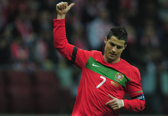 WARSAW, POLAND - FEBRUARY 29:  Cristiano Ronaldo of Portugal in action during the International Friendly mach between Poland and Portugal at National Stadium on February 29, 2012 in Warsaw, Poland.  (Photo by Jamie McDonald/Getty Images)