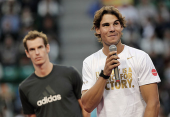 TOKYO, JAPAN - OCTOBER 09:  Rafael Nadal of Spain speaks after the Men's Singles final against Andy Murray of Great Britain during the day seven of the Rakuten Open at Ariake Colosseum on October 9, 2011 in Tokyo, Japan. (Photo by Lintao Zhang/Getty Image