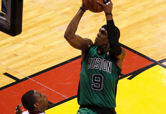 MIAMI, FL - MAY 30:  Rajon Rondo #9 of the Boston Celtics drives for a shot attempt in the first half against Mario Chalmers #15 of the Miami Heat in Game Two of the Eastern Conference Finals in the 2012 NBA Playoffs on May 30, 2012 at American Airlines A