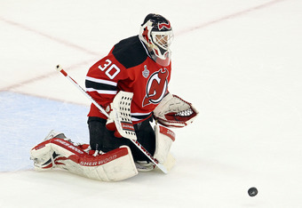 NEWARK, NJ - MAY 30:  Martin Brodeur #30 of the New Jersey Devils tends goal against the Los Angeles Kings during Game One of the 2012 NHL Stanley Cup Final at the Prudential Center on May 30, 2012 in Newark, New Jersey.  (Photo by Jim McIsaac/Getty Image