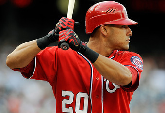 WASHINGTON, DC - APRIL 21:  Ian Desmond #20 of the Washington Nationals hits against the Miami Marlins at Nationals Park on April 21, 2012 in Washington, DC.  (Photo by Patrick McDermott/Getty Images)