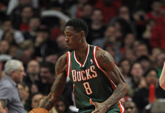 CHICAGO, IL - JANUARY 27: Larry Sanders #8 of the Milwaukee Bucks controls the ball against the Chicago Bulls at the United Center on January 27, 2012 in Chicago, Illinois. The Bulls defeated the Bucks 107-100. NOTE TO USER: User expressly acknowledges an
