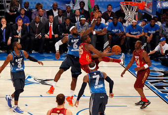 ORLANDO, FL - FEBRUARY 26:  Kevin Durant #35 of the Oklahoma City Thunder and the Western Conference drives for a shot attempt against LeBron James #6 of the Miami Heat and the Eastern Conference during the 2012 NBA All-Star Game at the Amway Center on Fe