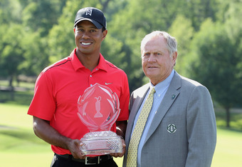 DUBLIN, OH - JUNE 03:  Tournament founder Jack Nicklaus poses with Tiger Woods after Tiger's two-stroke victory at the Memorial Tournament presented by Nationwide Insurance at Muirfield Village Golf Club on June 3, 2012 in Dublin, Ohio.  (Photo by Scott H