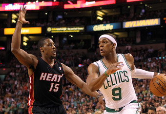 BOSTON, MA - JUNE 03:  Rajon Rondo #9 of the Boston Celtics drives in the first quarter against Mario Chalmers #15 of the Miami Heat in Game Four of the Eastern Conference Finals in the 2012 NBA Playoffs on June 3, 2012 at TD Garden in Boston, Massachuset