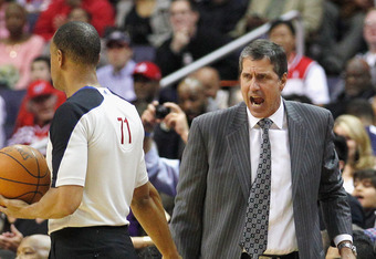 WASHINGTON, DC - MARCH 07: Head coach Randy Wittman of the Washington Wizards yells at an official during the second half of the Wizards 106-101 win over the Los Angeles Lakers at the Verizon Center on March 7, 2012 in Washington, DC. NOTE TO USER: User e