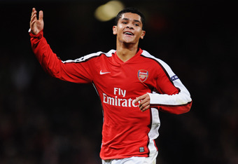 LONDON, ENGLAND - NOVEMBER 24:  Denilson of Arsenal celebrates scoring their second goal during the UEFA Champions League group H match between Arsenal and Standard Liege at Emirates Stadium on November 24, 2009 in London, England.  (Photo by Shaun Botter